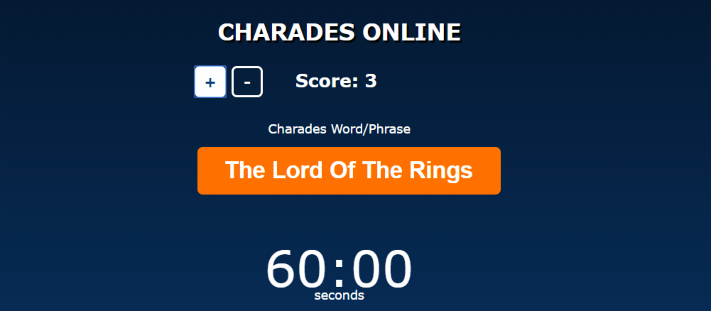 Play my Online Charades Game with your family during the COVID-19 lock-down